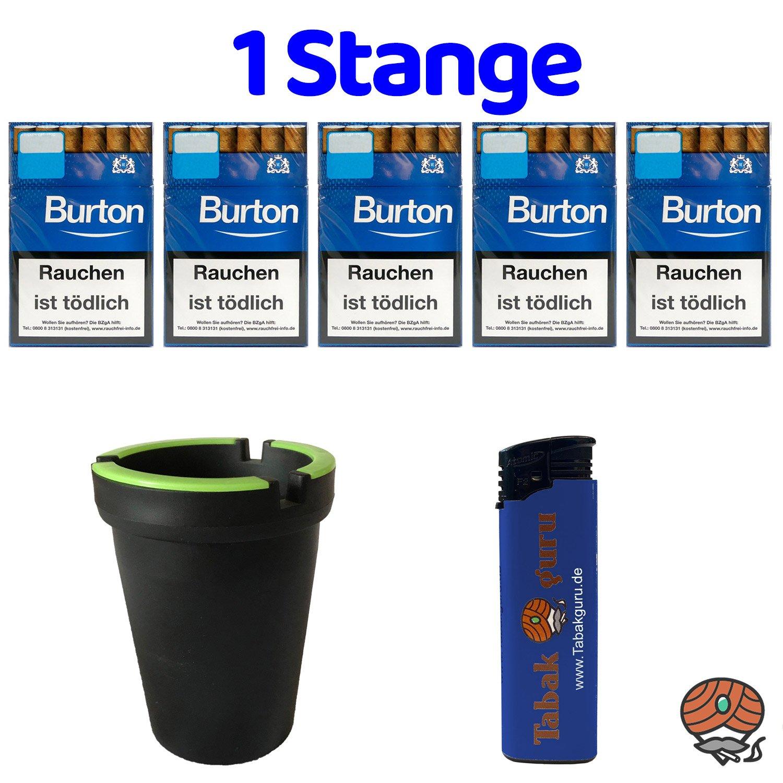 1 Stange Burton Blau Filter Zigarillos (17 Stück / Schachtel) + Zubehör (Autoascher)