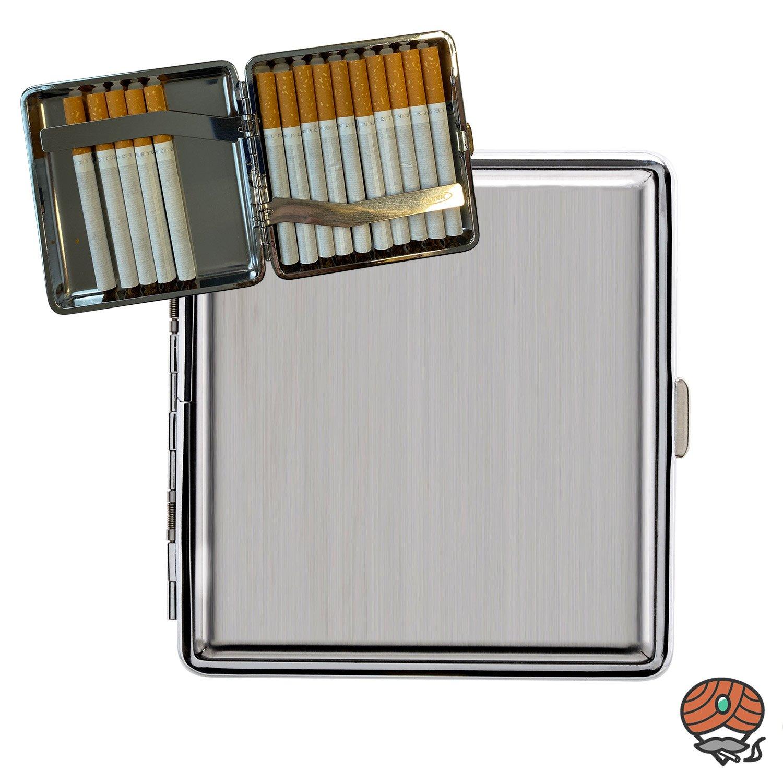 Atomic Metall Zigarettenetui mit Clip, Gebürsteter Edelstahl, Chrom