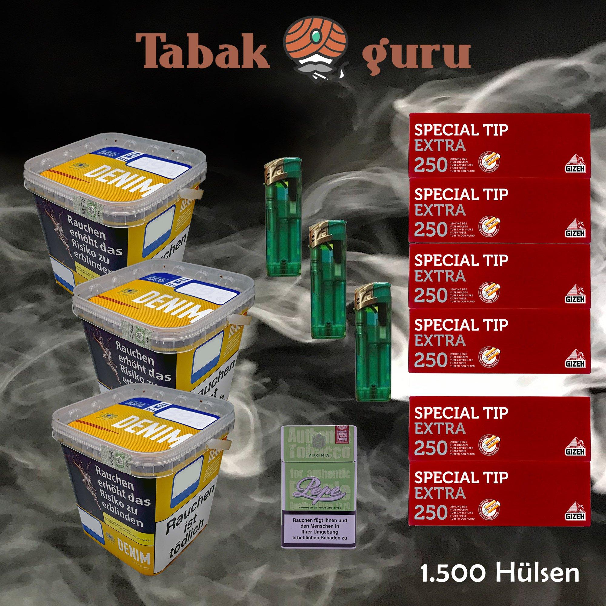 3 x Denim Mega Box Volumentabak 290g Eimer + 1500 Gizeh Extra Hülsen + Zubehör