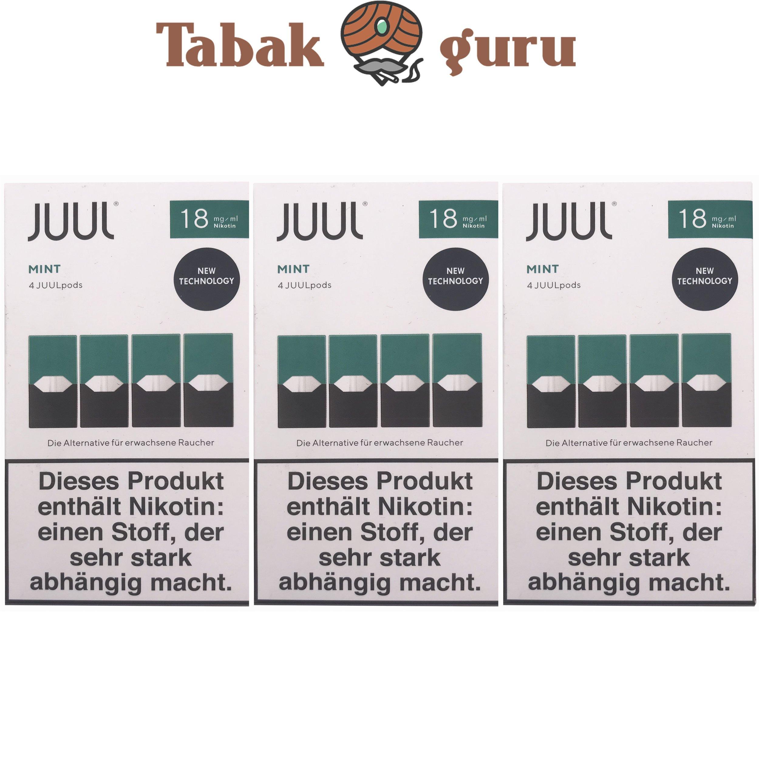 JUUL 3 Packungen Mint Pods 18mg/ml á 4 Pods