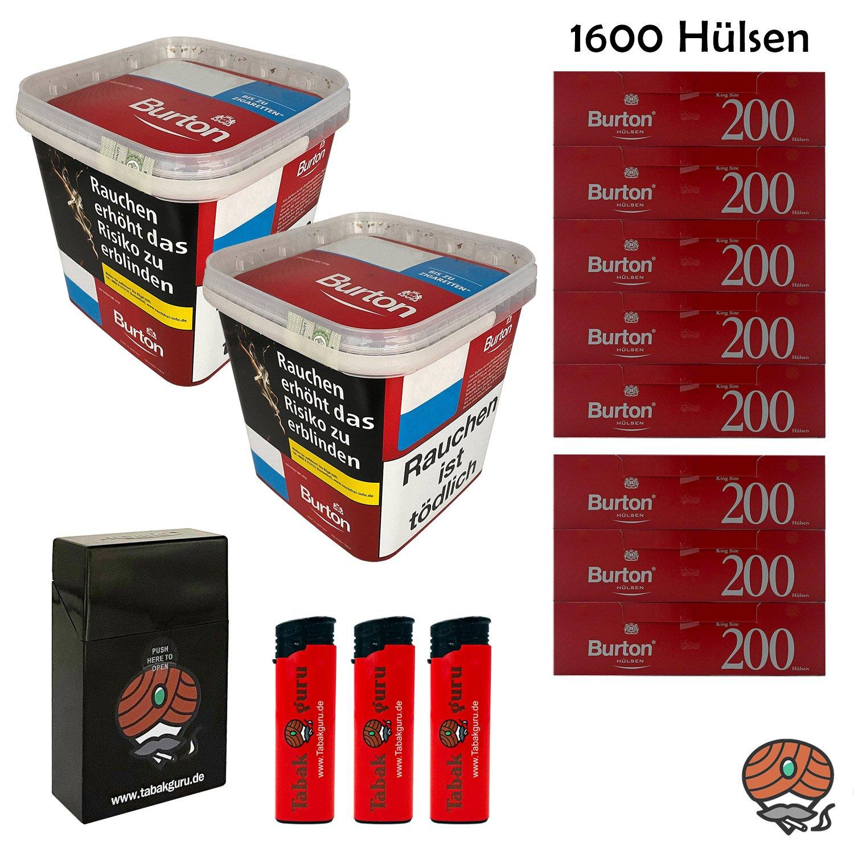 2x Burton Red Volumentabak XXXL Eimer 350g, 1600 Hülsen, Feuerz., Box