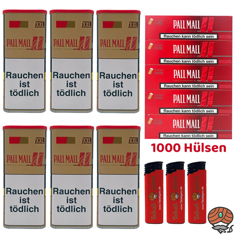 6x Pall Mall Authentic Red / Rot Tabak à 95 g, 1000 Pall Mall Red Xtra Hülsen