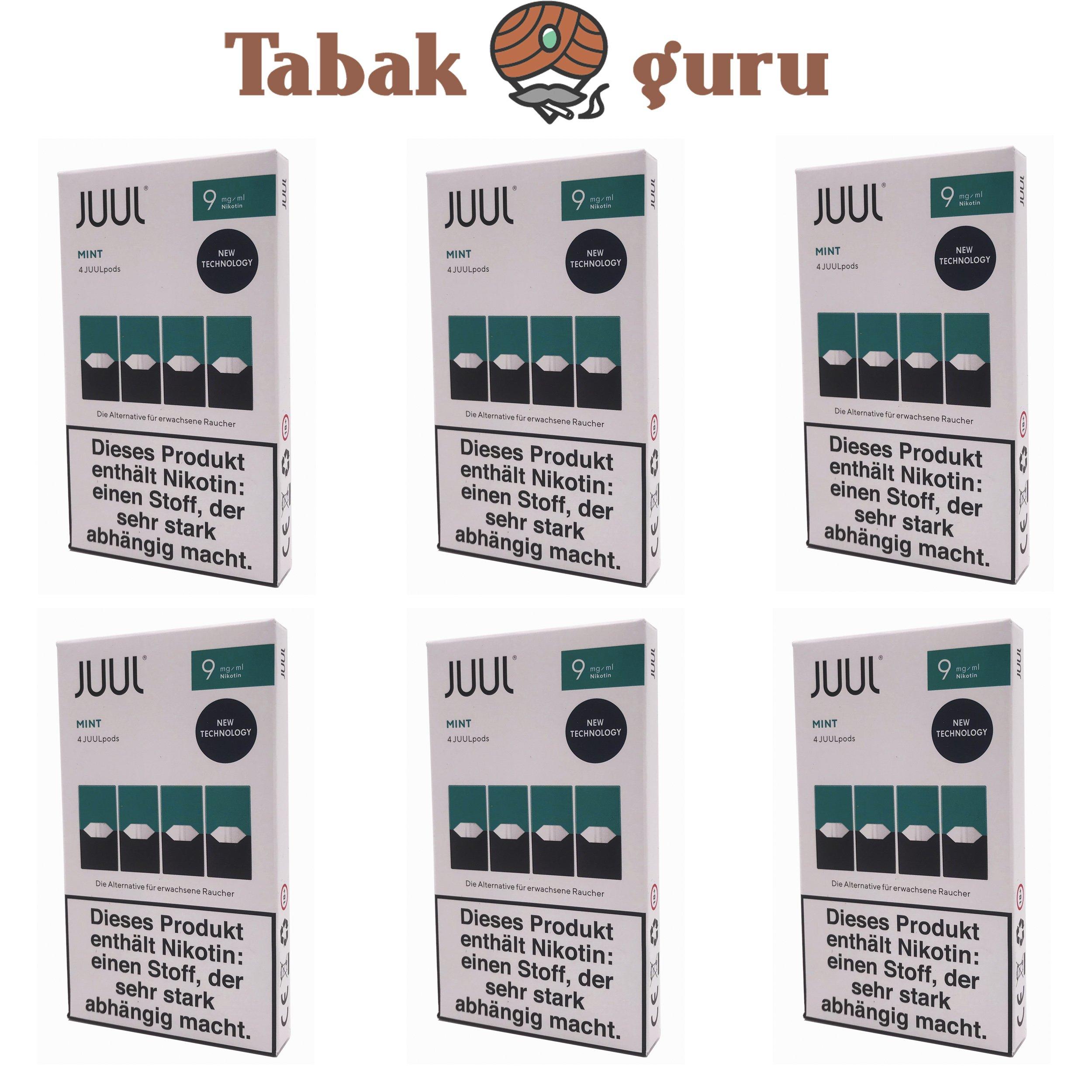 JUUL 6 Packungen Mint Pods 9mg/ml á 4 Pods
