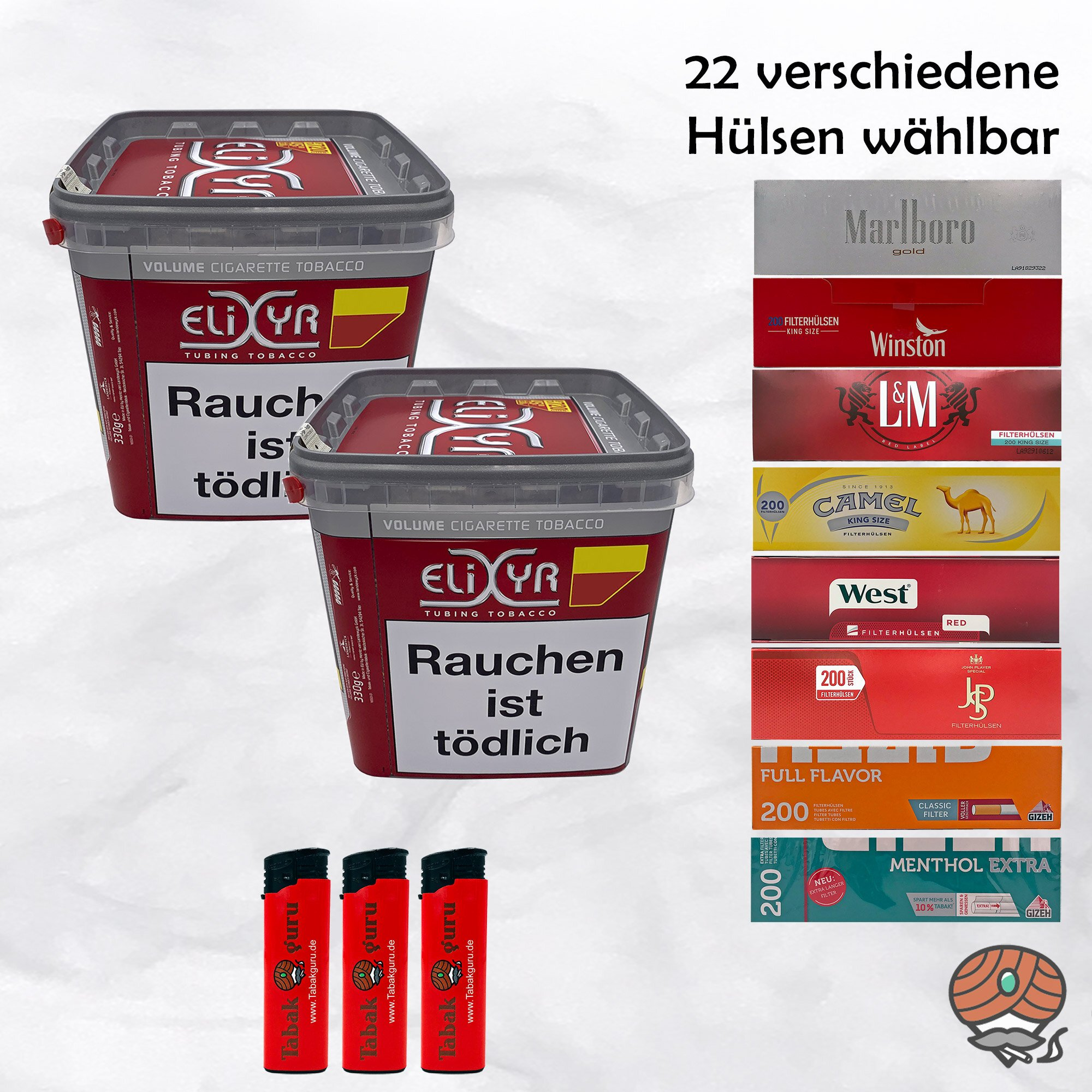 2 x Elixyr Red / Rot Volumentabak 320g + 1000 Hülsen wählbar + Feuerzeuge