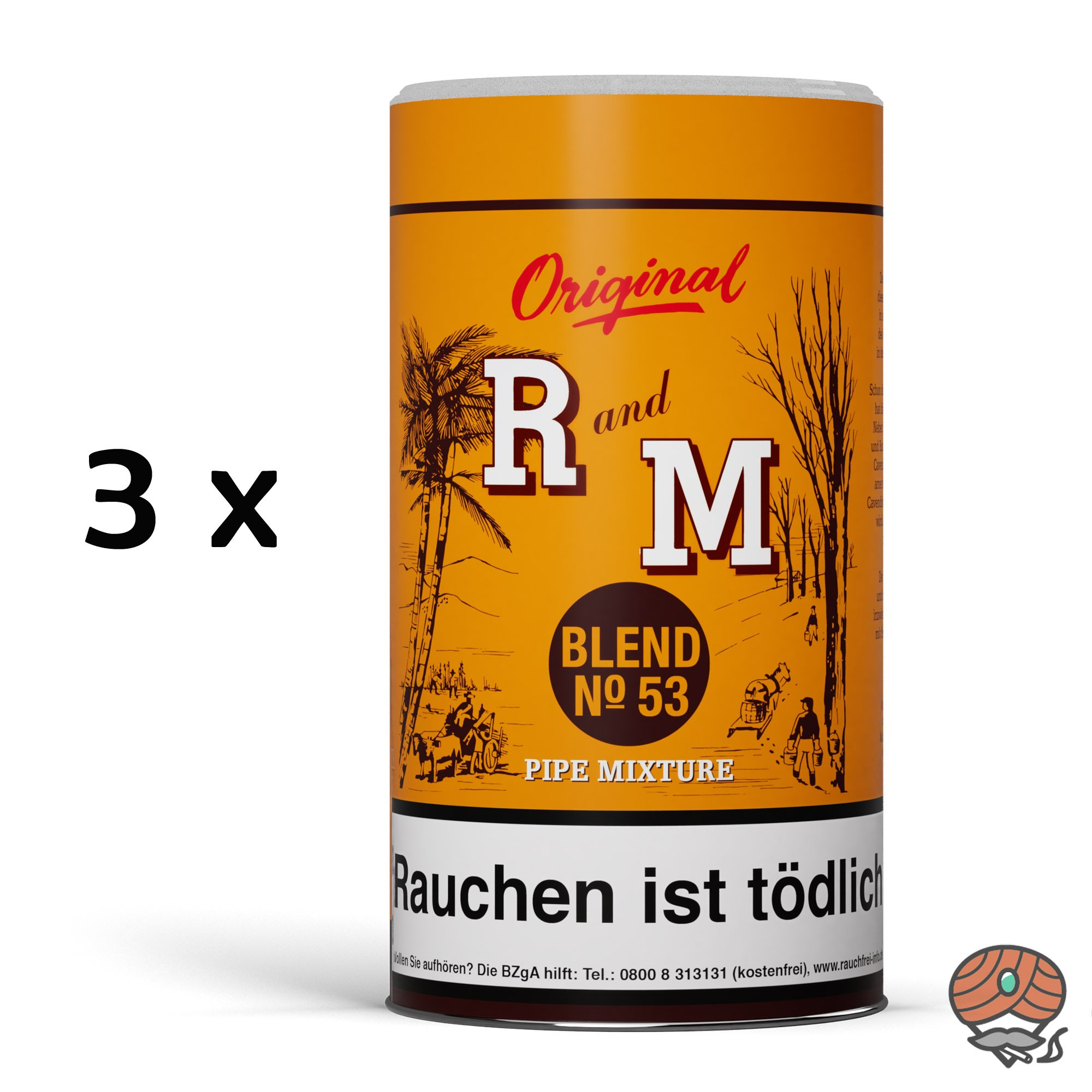 3 x R und M (Rum and Maple) Original Blend No. 53 Pfeifentabak 250g Dose