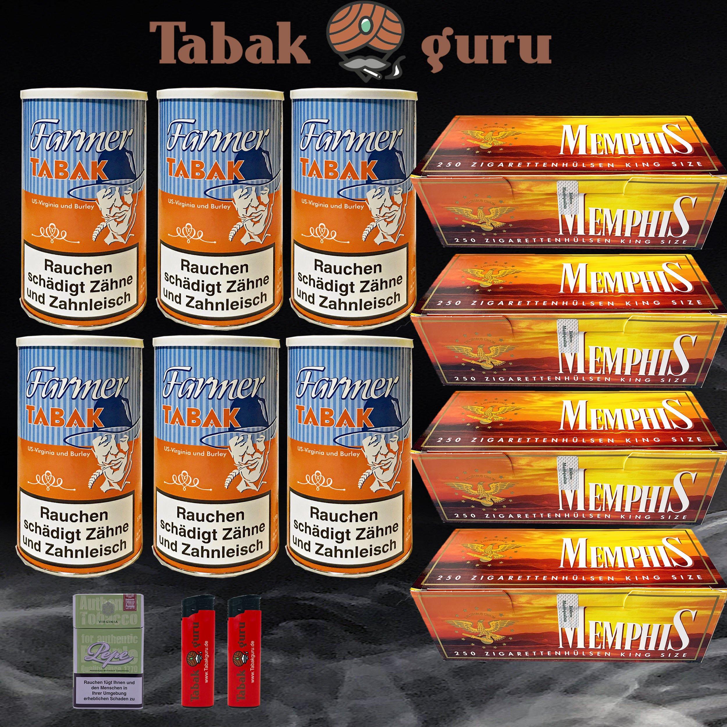6 Dosen Farmer Tabak + Zubehör