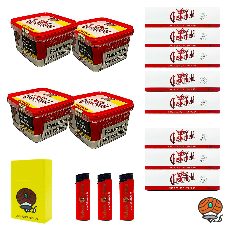 4 x Chesterfield Red Volumentabak BIG BOX (ehem. Mega) 155 g + 8 x Chesterfield Red Filterhülsen + mehr