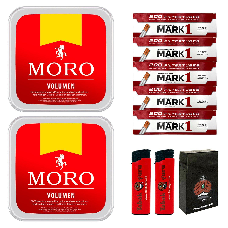 2 x Moro Rot Volumentabak 225 g Box + 1000 Mark1 Hülsen + Zubehör