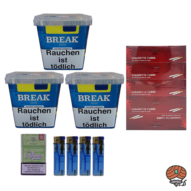 3x Break Blue/ Blau Volumentabak Giga Box 240g + 1000 Hülsen + Zubehör