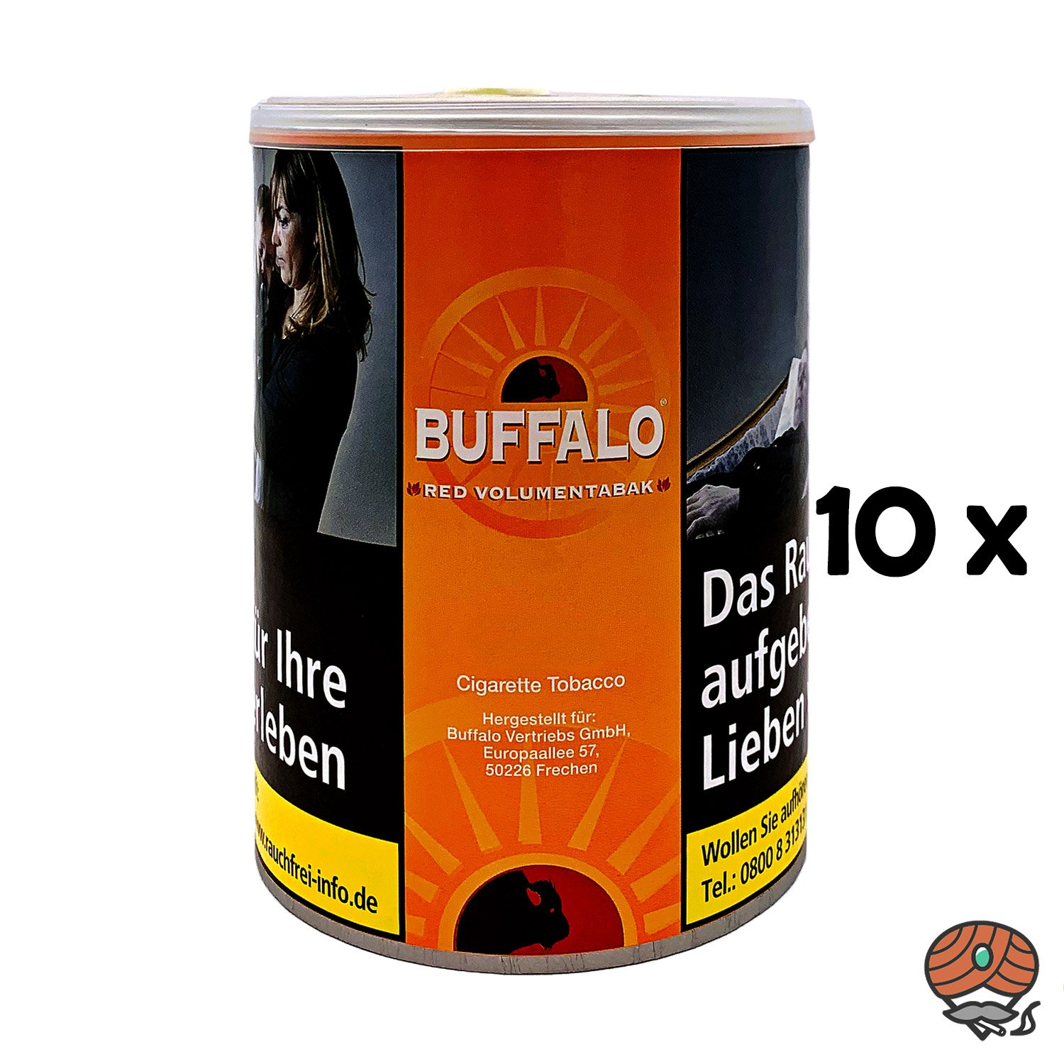 10x Buffalo Red / Rot Volumentabak Dose à 80g
