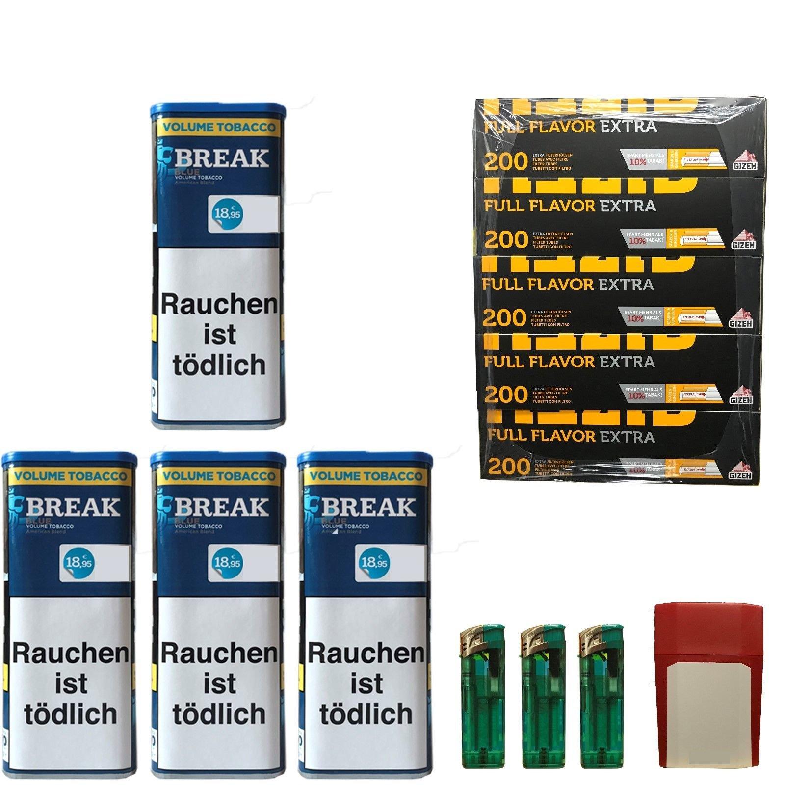 4x Break Blue/Blau XXL Volumentabak 120g, Full Flavor Extra Hülsen, Feuerz., Box