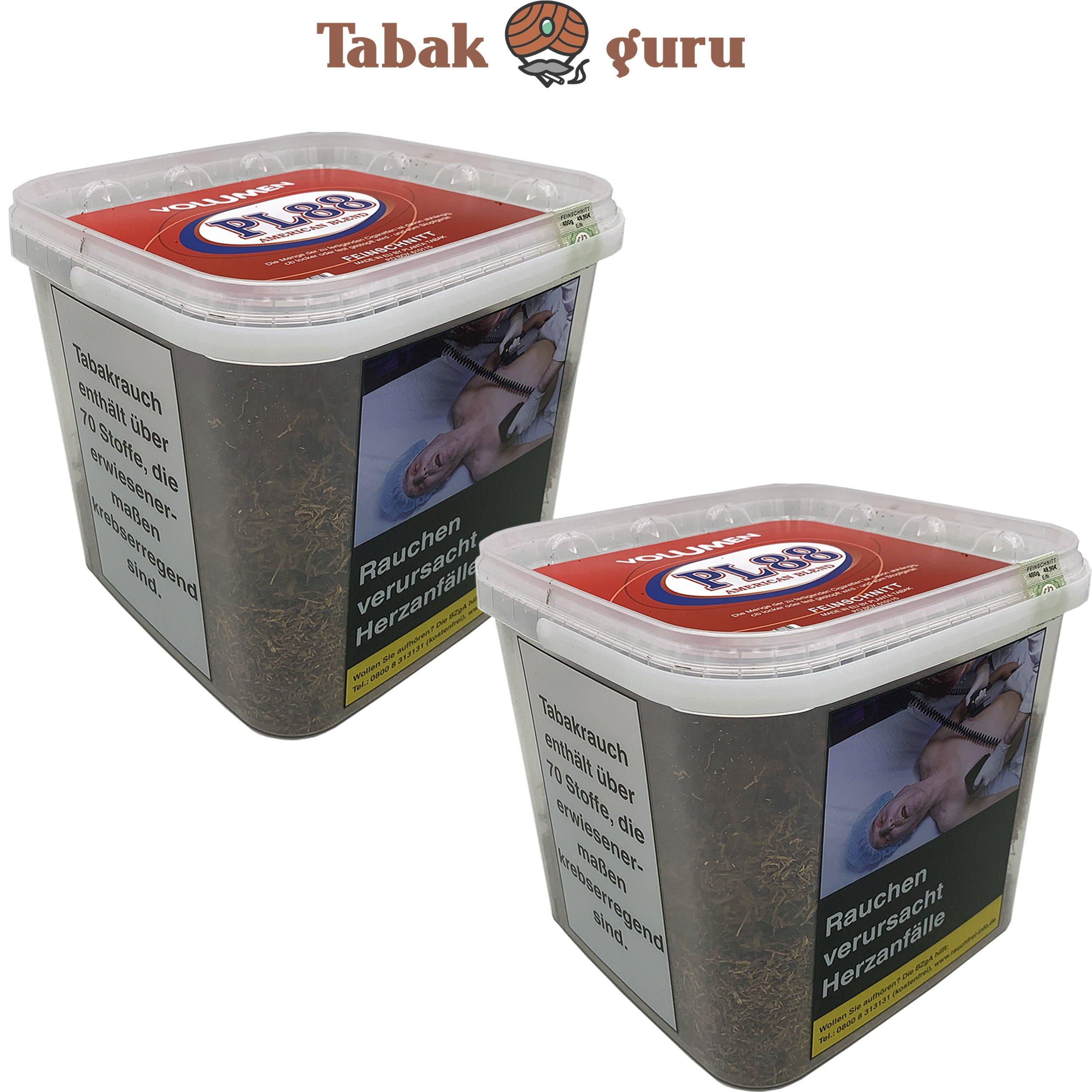 2x PL88 Red / Rot American Blend Tabak / Volumentabak 400g Eimer