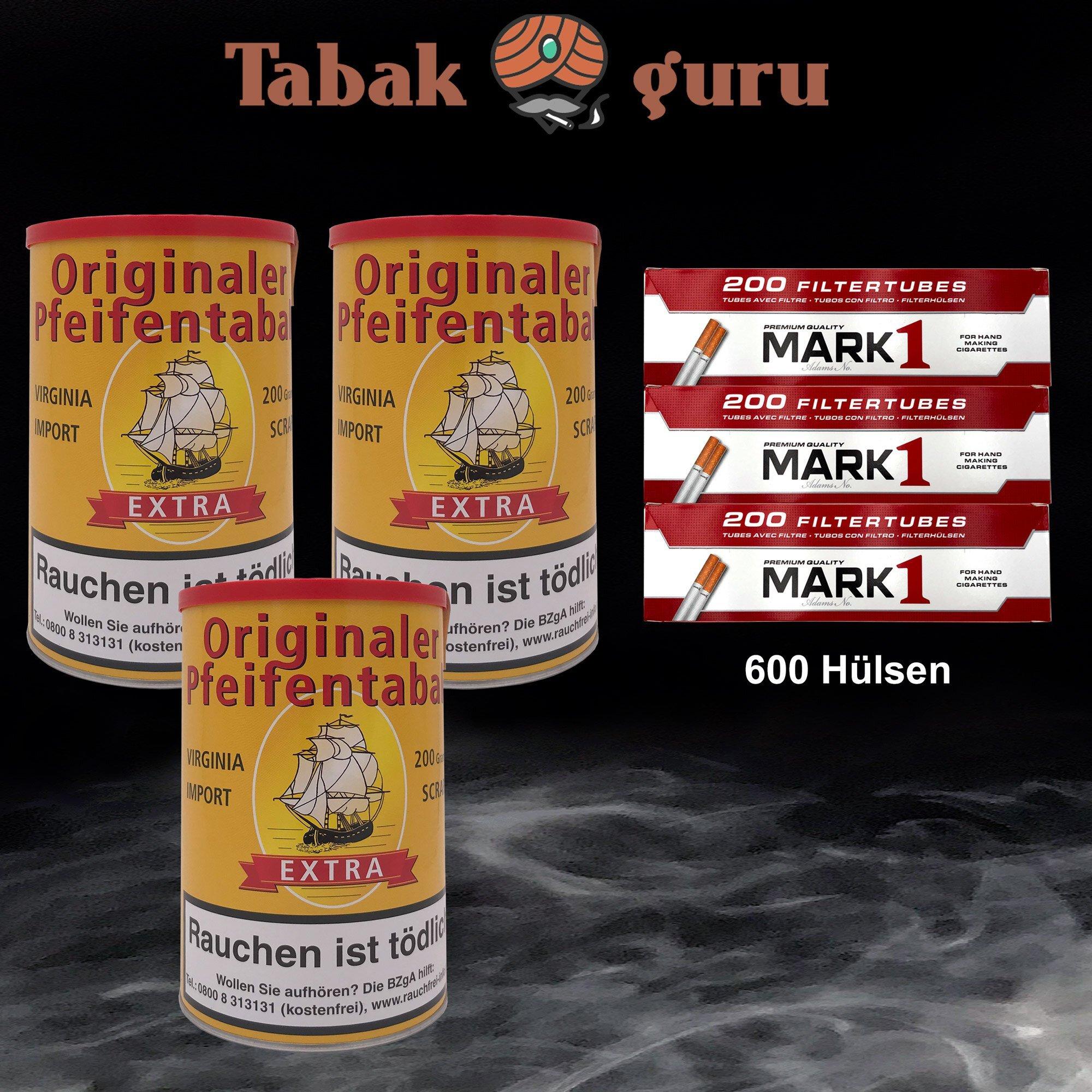 3 x Originaler Pfeifentabak Extra á 200g + 600 Mark1 Hülsen