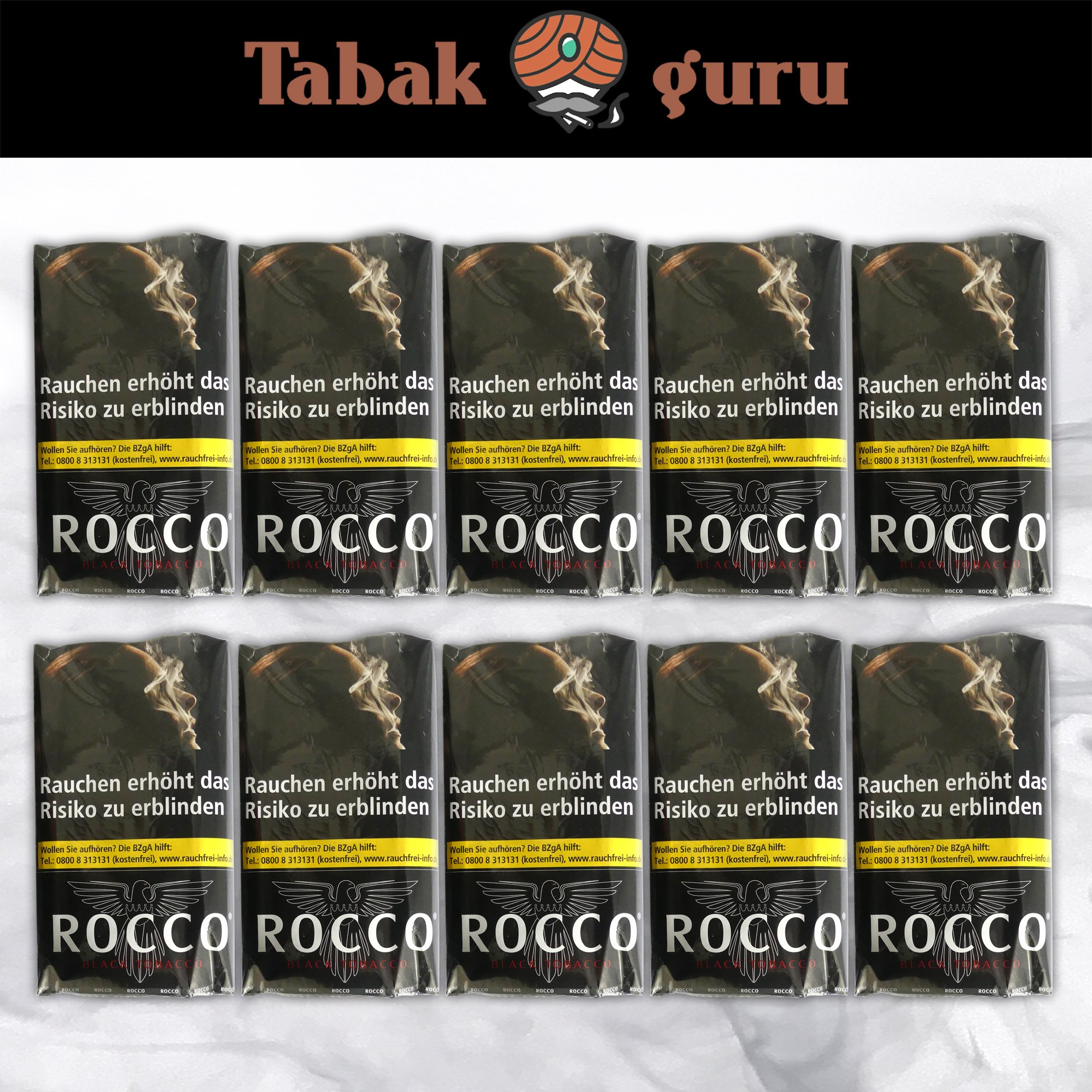 10 x ROCCO Black Tobacco Drehtabak 38 g