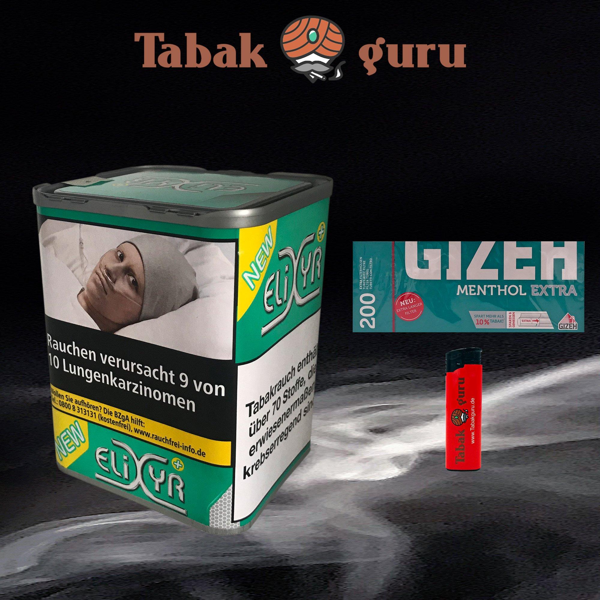Elixyr PLUS Tabak 115g Zigarettentabak + Gizeh Menthol Extra Hülsen + Feuerzeug