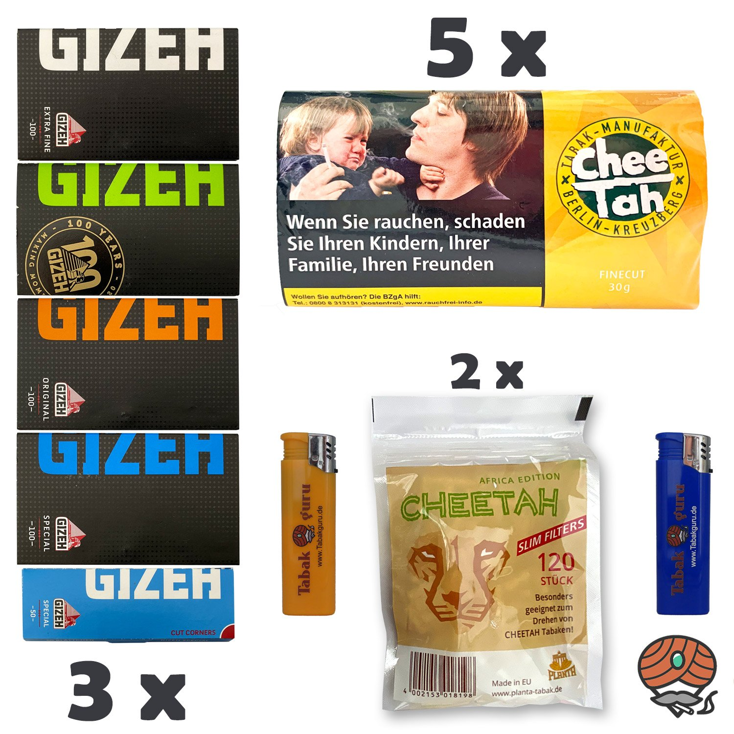 5 x Chee Tah Gelb Virginia Blend Drehtabak Pouch, 3 x GIZEH Papers, 2 x Slim Filter