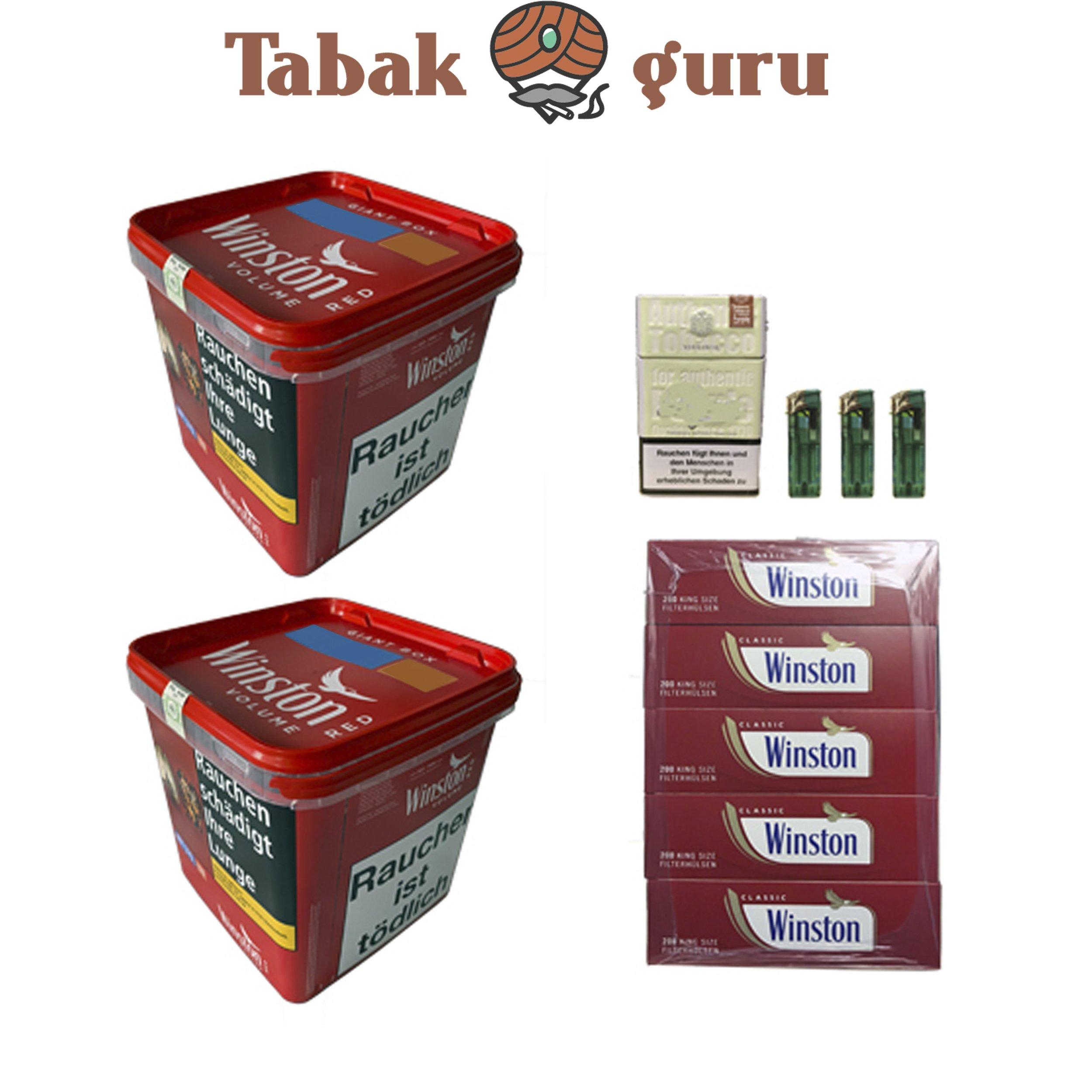 2x Winston Classic Red / Rot Giant Box 280g Volumentabak, Hülsen, Box, Feuerzeuge