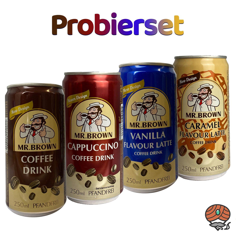 4 x Mr. Brown Kaffeegetränk, 250 ml Dose, PROBIERSET