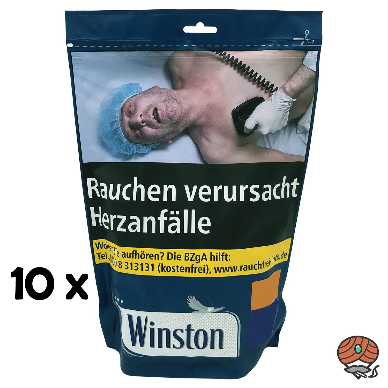 10 x Winston Blue / Blau Volumentabak 135 g Beutel
