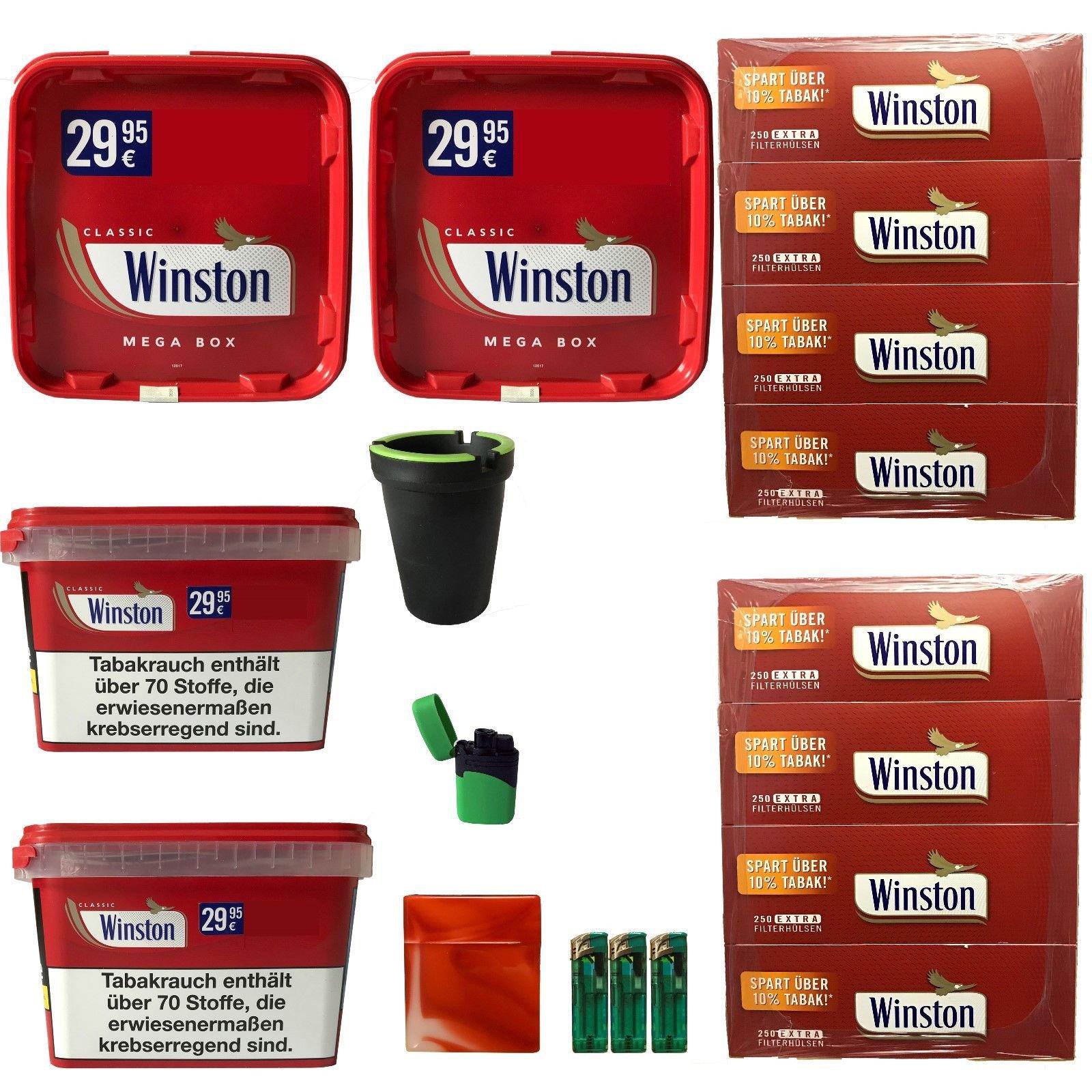 4 x Winston Volumentabak Mega Boxes 185g, Winston Extra Hülsen + Zubehör