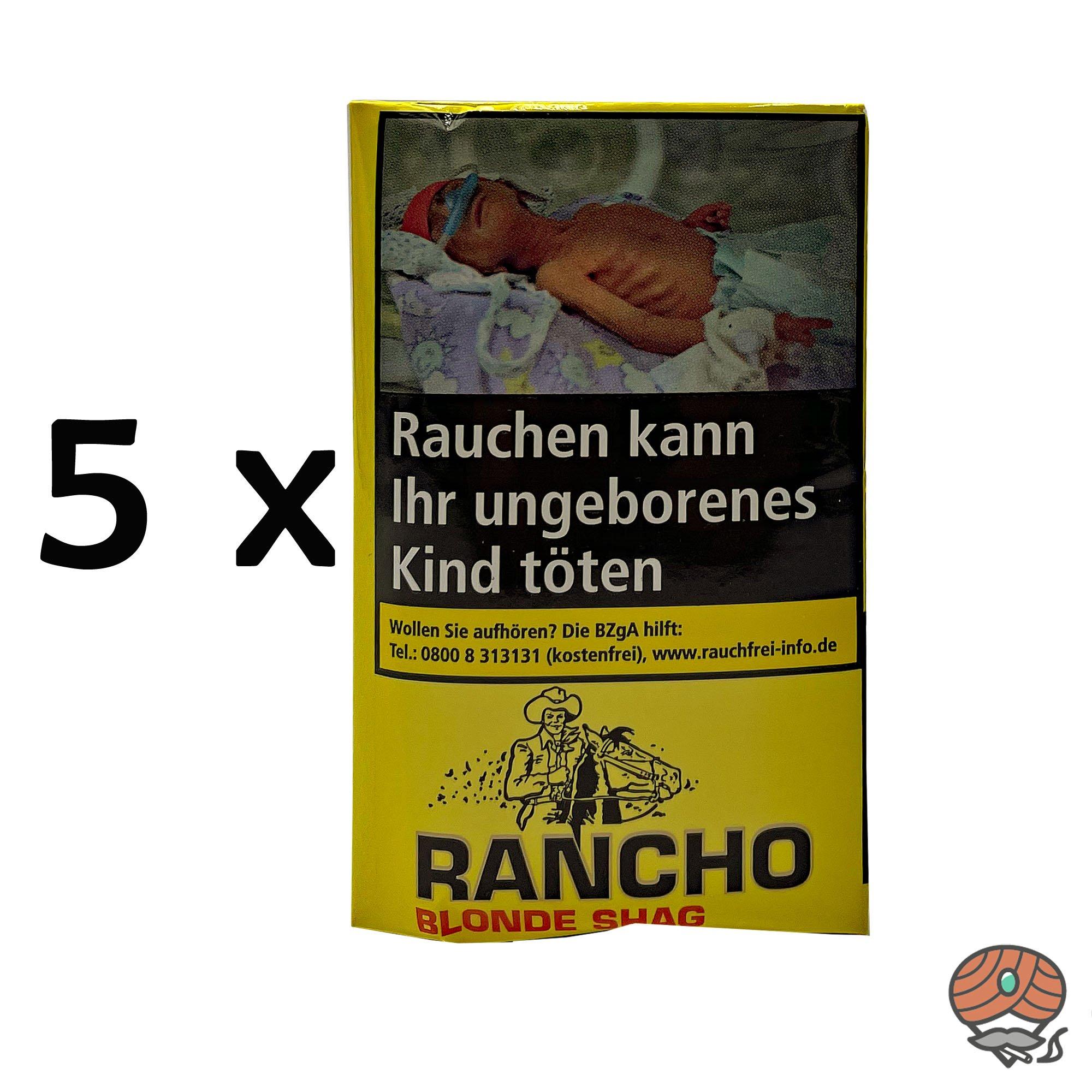 5x Rancho Blonde Shag Zigarettentabak à 40g Beutel / Pouch
