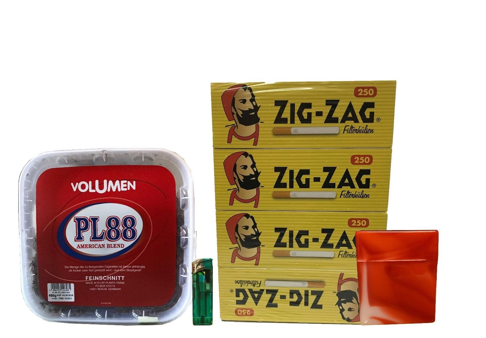 1x PL88 American Blend Tabak / Volumentabak 400g Eimer, ZigZac Hülsen, Feuerzeug