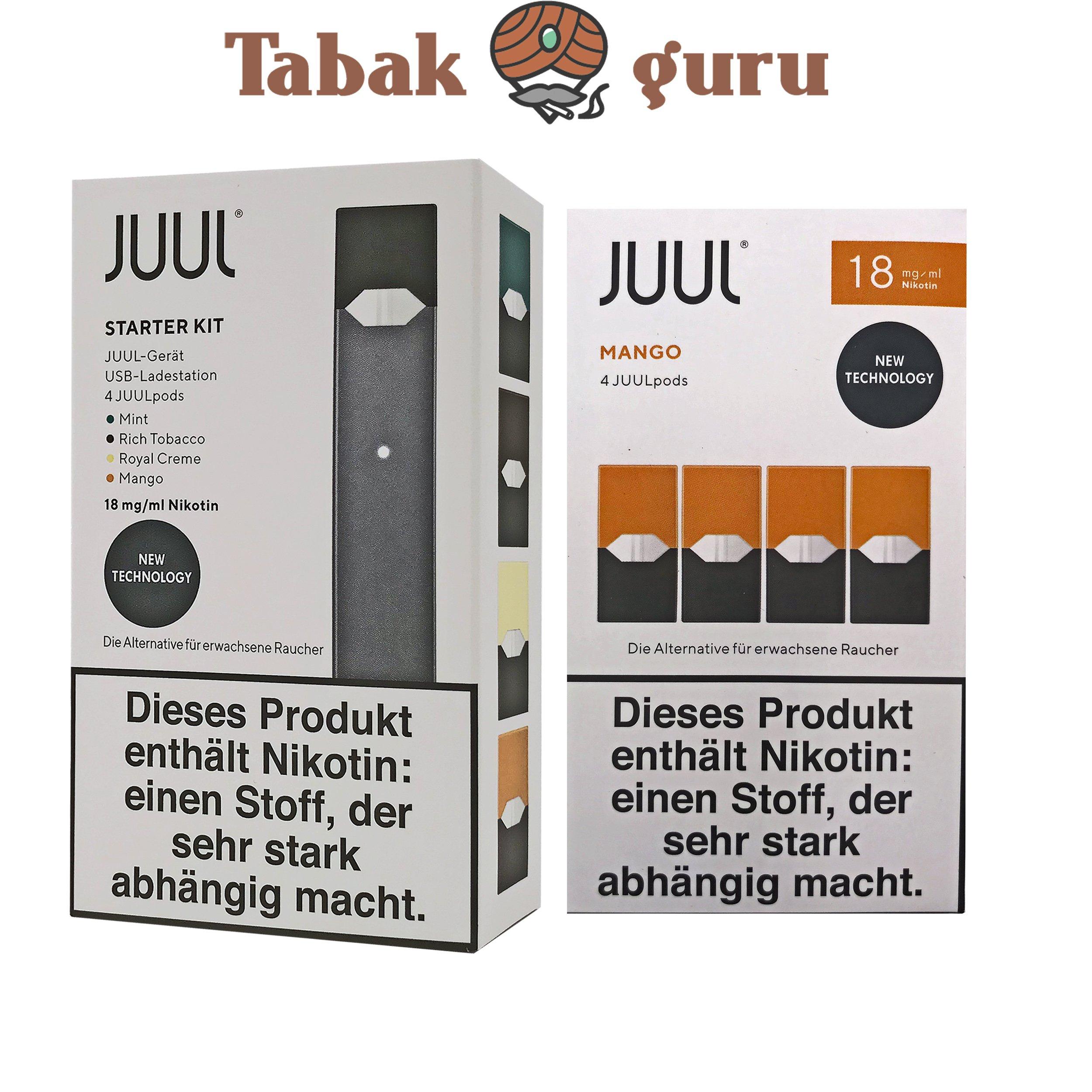 JUUL Starter-Kit mit 4 JUULpods Inkl. 4 JUUL pods Mango 18mg