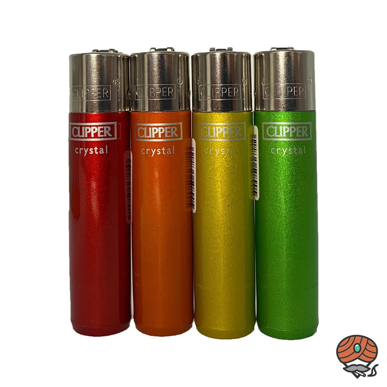 4 Clipper Reibradfeuerzeuge Chrystal Rainbow 1 - 4 Regenbogenfarben