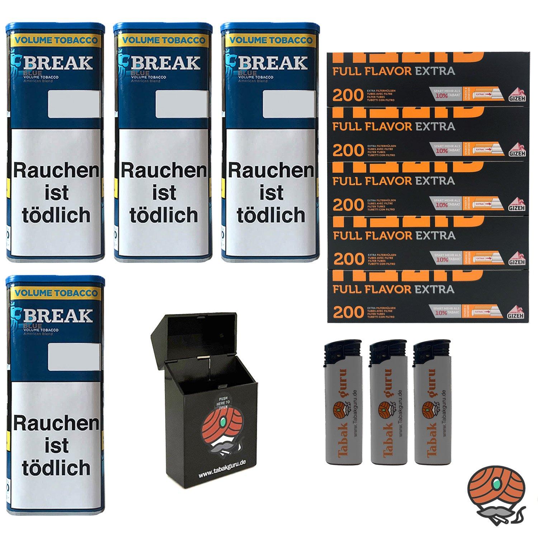 4x Break Blue/Blau XXL Volumentabak 115g, Full Flavor Extra Hülsen, Feuerz., Box