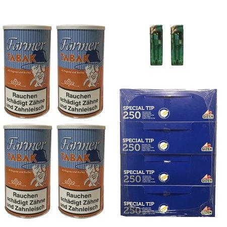 4 Dosen Farmer Tabak 170g + 1.000 Gizeh Hülsen + 2 Feuerzeuge