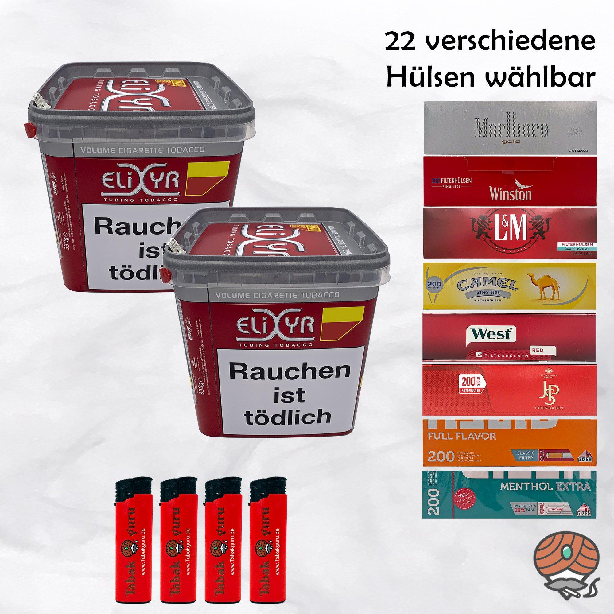 2 x Elixyr Red / Rot Volumentabak 320g + 2.000 Hülsen wählbar + Feuerzeuge