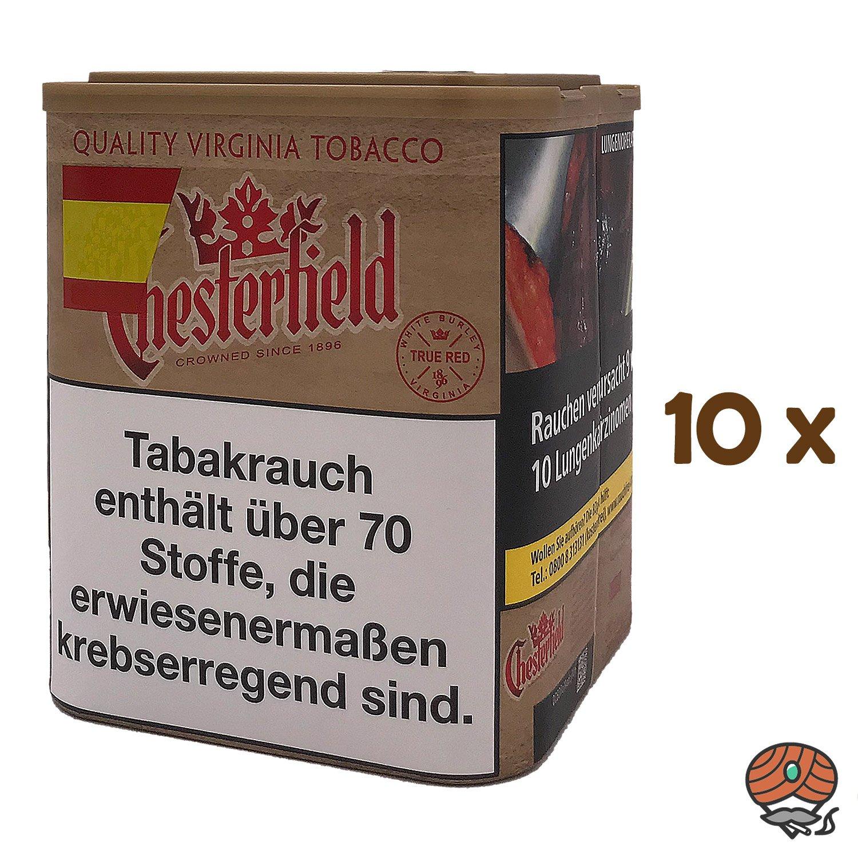 10x Chesterfield True Red Stopftabak ohne Zusätze L Dose à 95 g