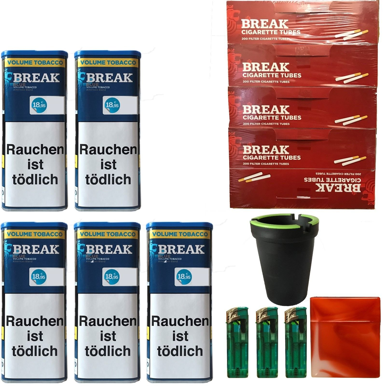 5x Break Blue/Blau XXL Volumentabak 120g, Hülsen, Feuerzeuge, Box, Aschenbecher