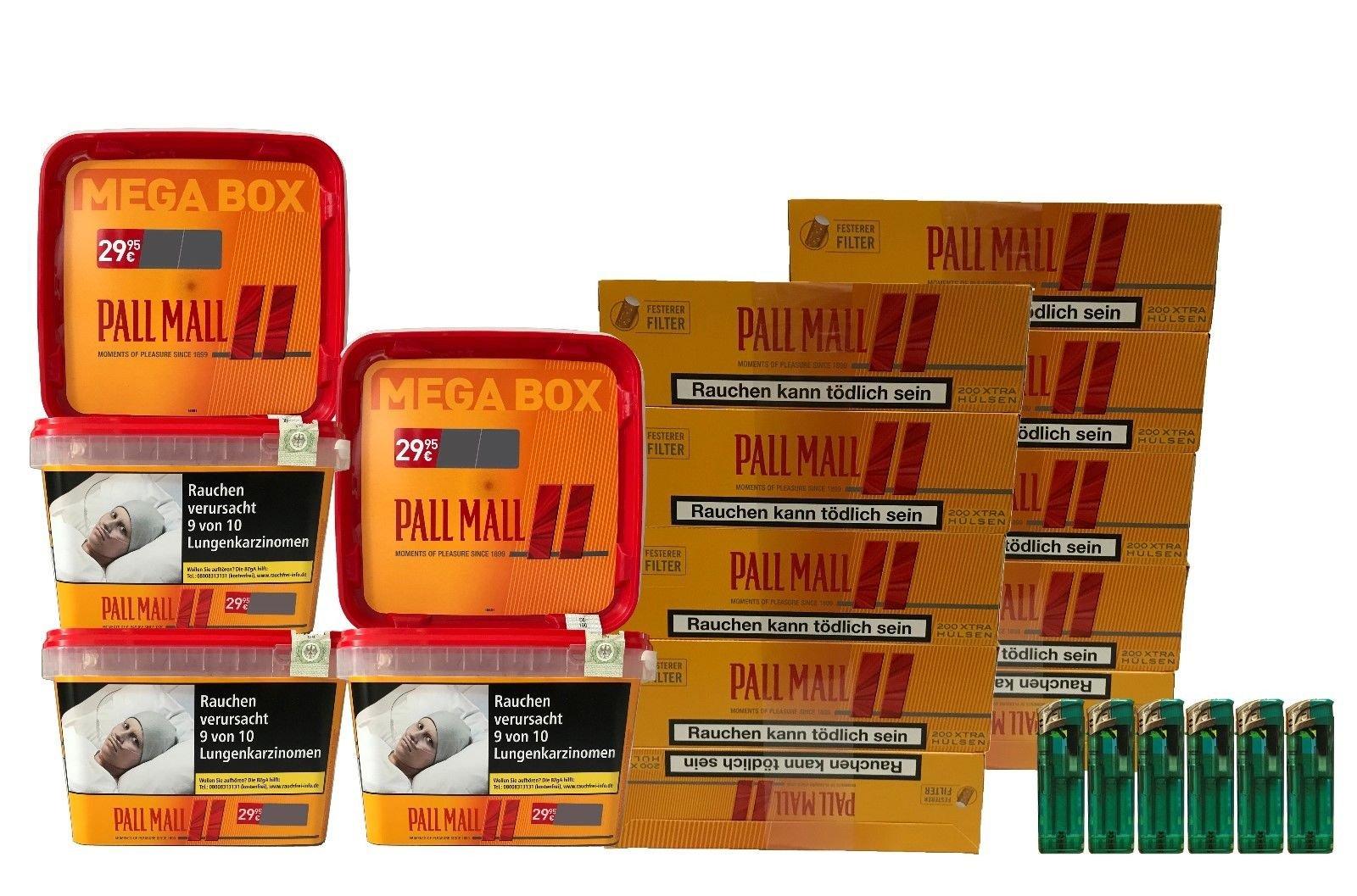 5x Pall Mall Mega Box Tabak/Volumentabak á 170g, 2000 Xtra Hülsen, Feuerzeuge
