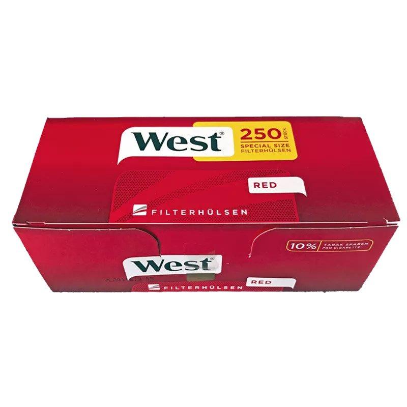 4x West Red Volumentabak Box 170g + 2000 West Extra Hülsen + Zubehör