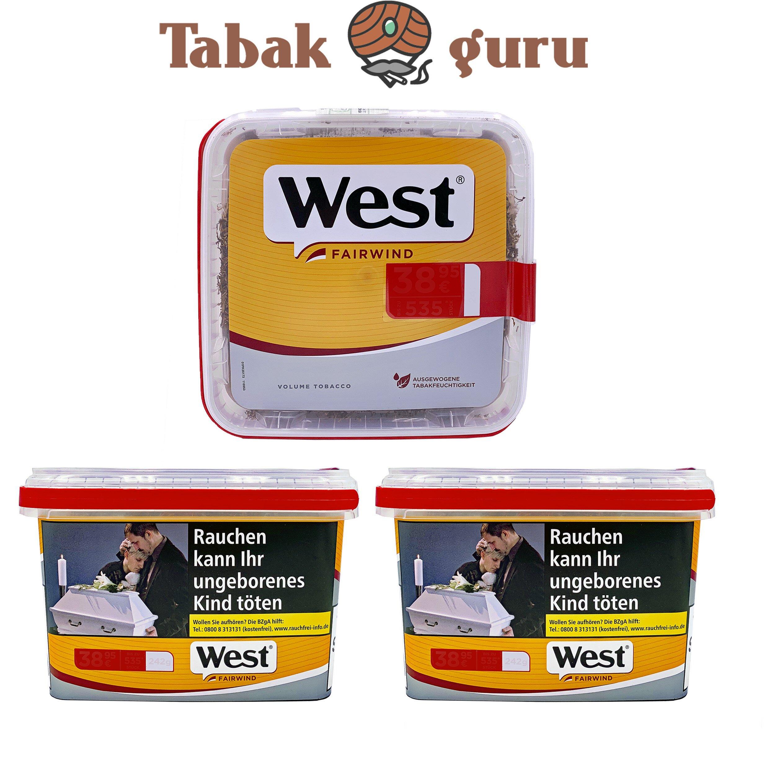 3x West Yellow Tabak / Volumentabak Jumbo Box á 185g