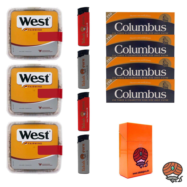3x West Yellow Volumentabak Jumbo Box 185g + 1000 Columbus Hülsen + Zubehör