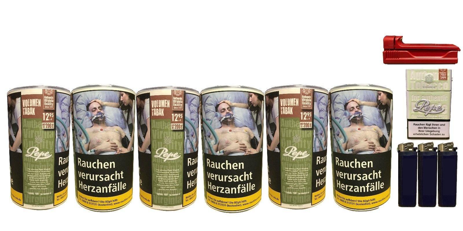 6x Pepe Rich Green Tabak / Volumentabak 85g + Feuerzeuge, Zigarettenbox, Stopfer