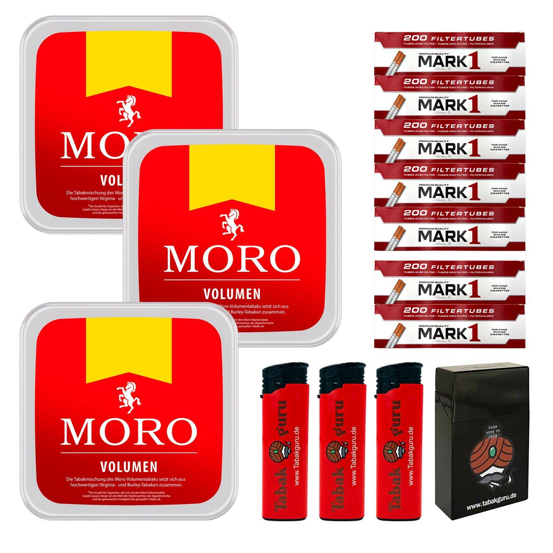 3 x Moro Rot Volumentabak 225 g Box + 1400 Mark1 Hülsen + Zubehör