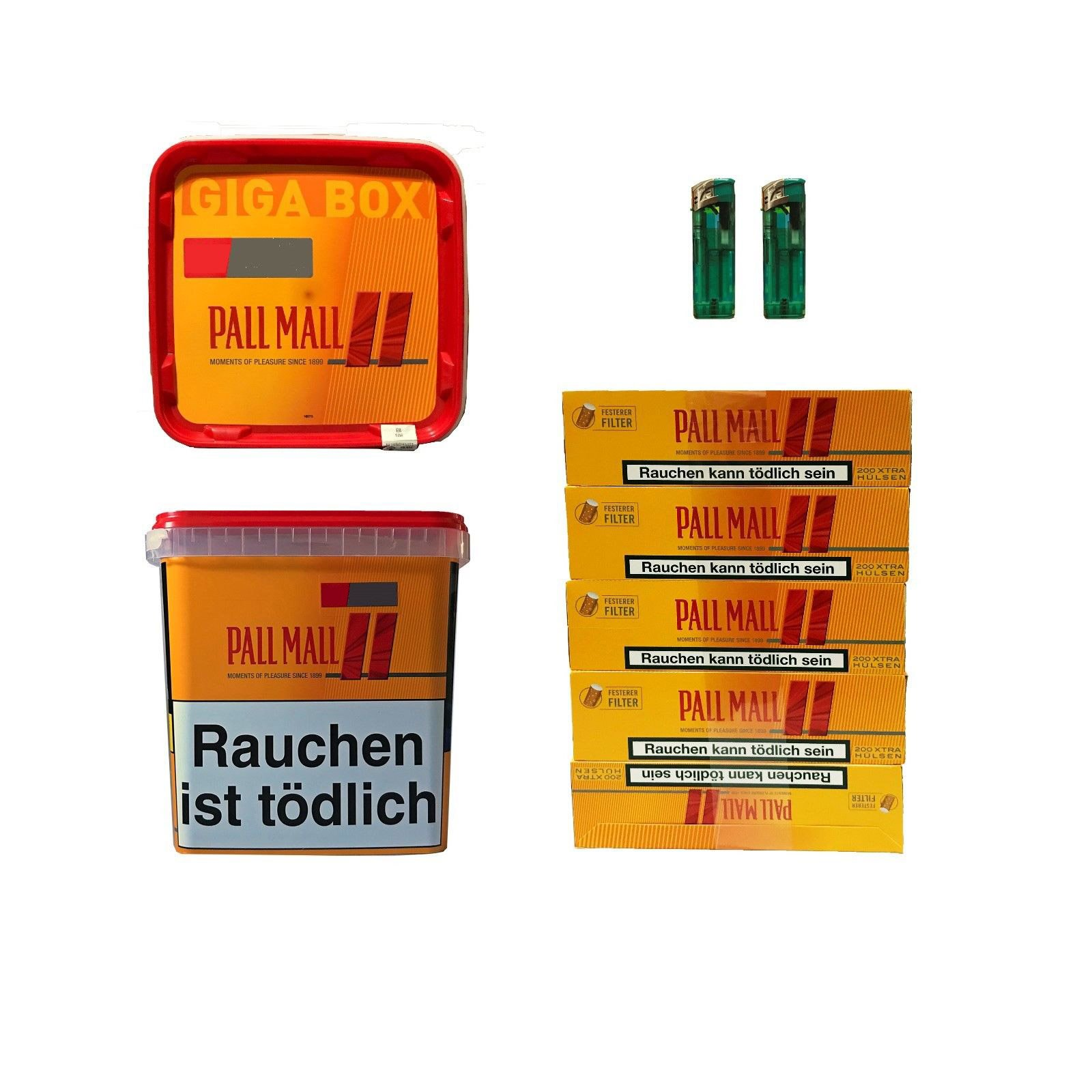 2x Pall Mall Allround Volumentabak Giga Box 280g, 1000 Extra Hülsen, 2 Feuerz.