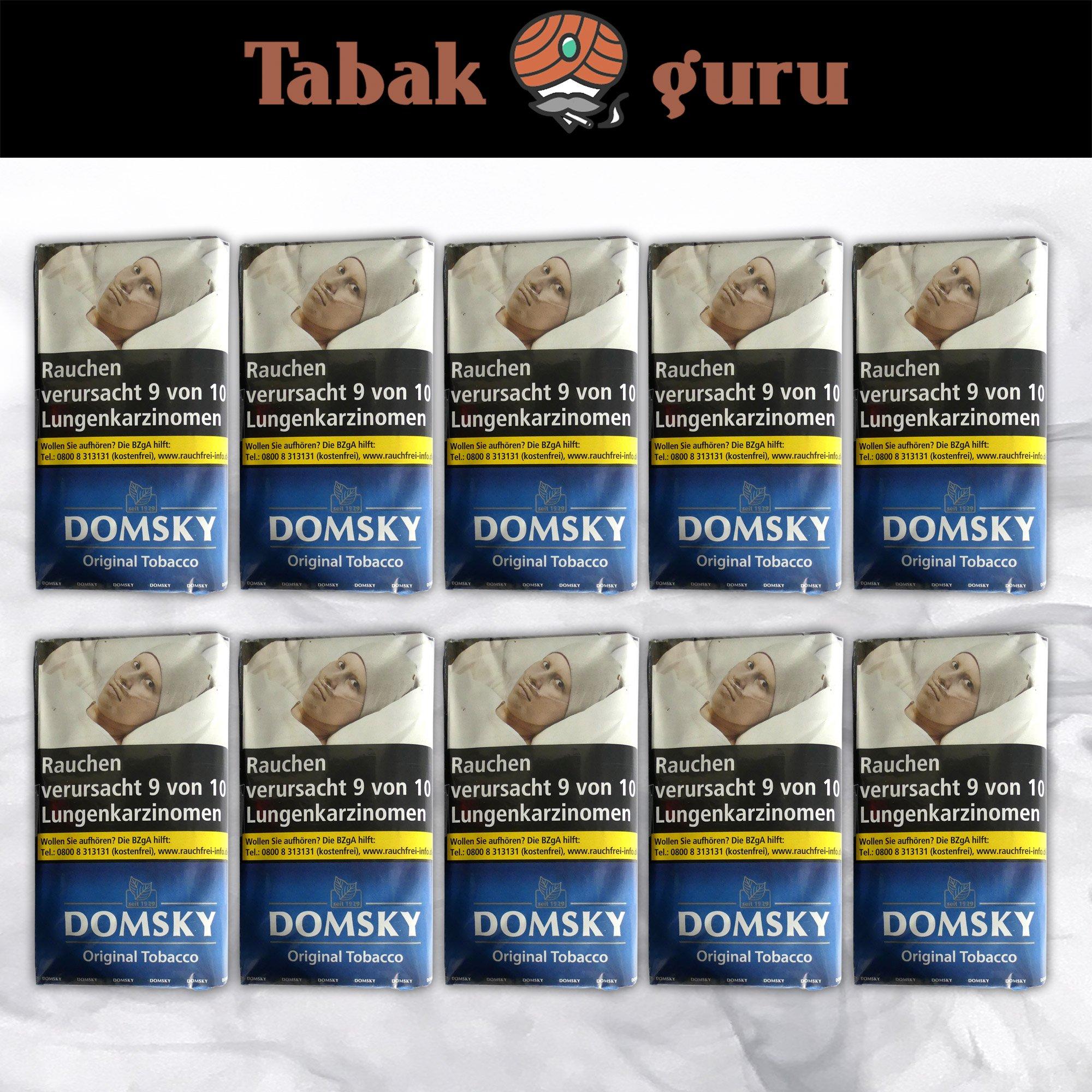 10 x DOMSKY Original Tobacco Drehtabak 40 g