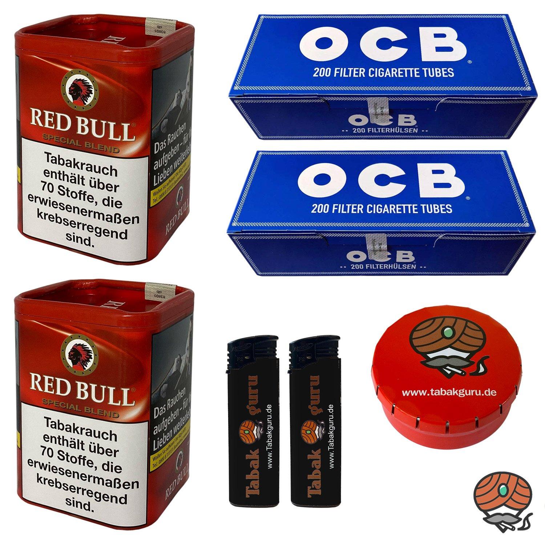 2x Red Bull Special Blend Zigaretten-Tabak 120g Dose + 400 OCB Blau / Blue Hülsen + Zubehör