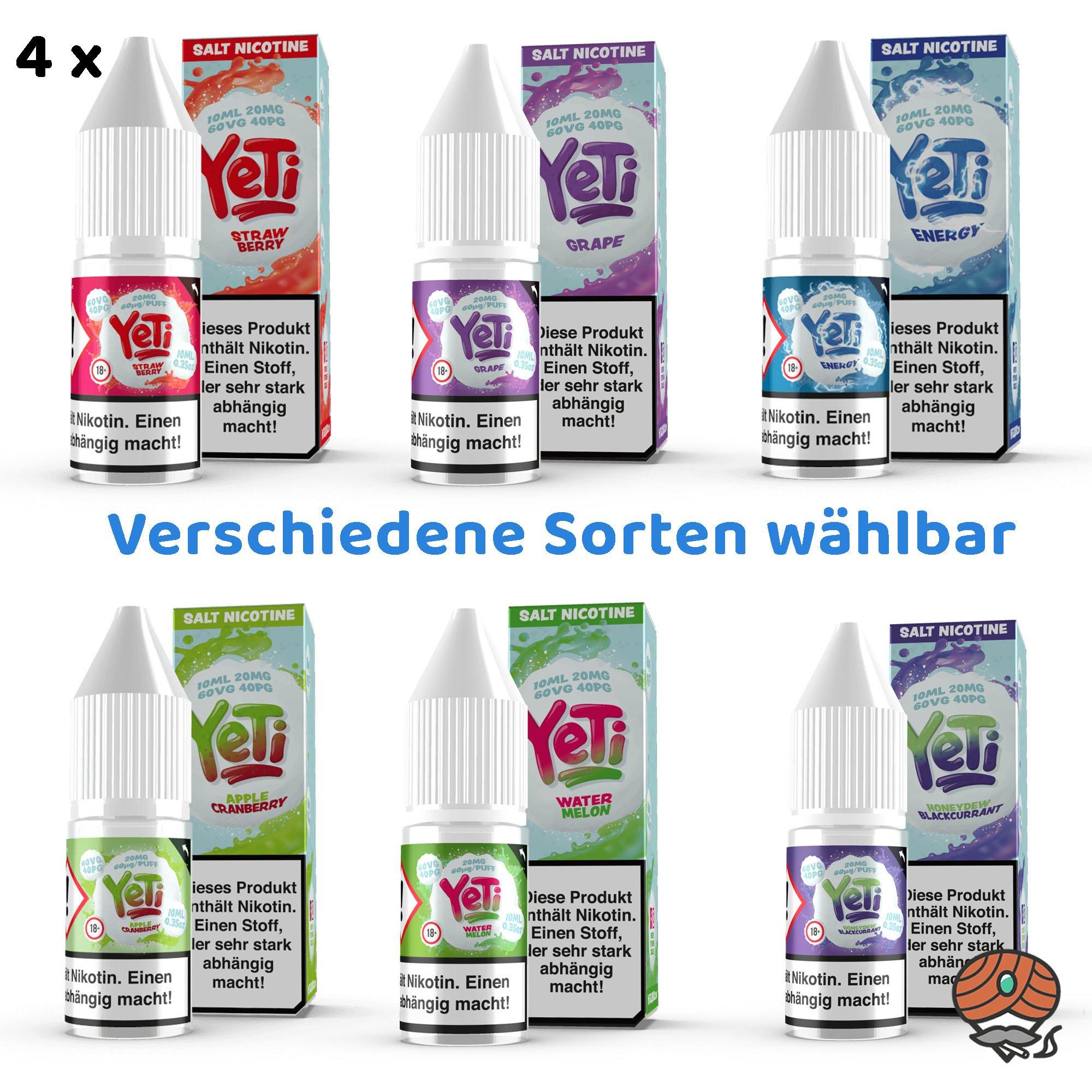 4 x YeTi Nikotinsalz Liquid 10 ml 20 mg/ml Nikotin alle Sorten wählbar