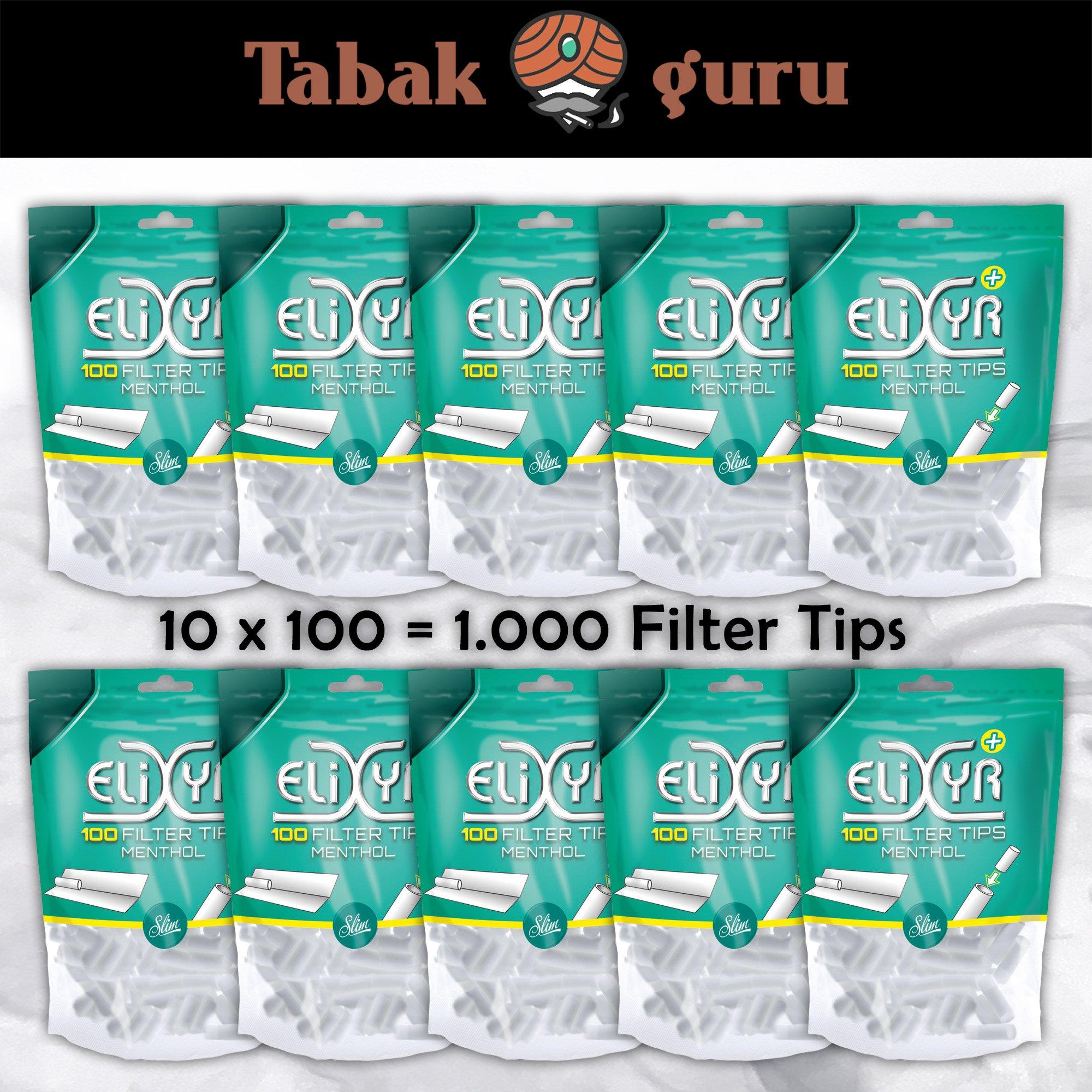 10x Elixyr Plus Slim Filter Tips Menthol, 6 mm, à 100 Feinfilter