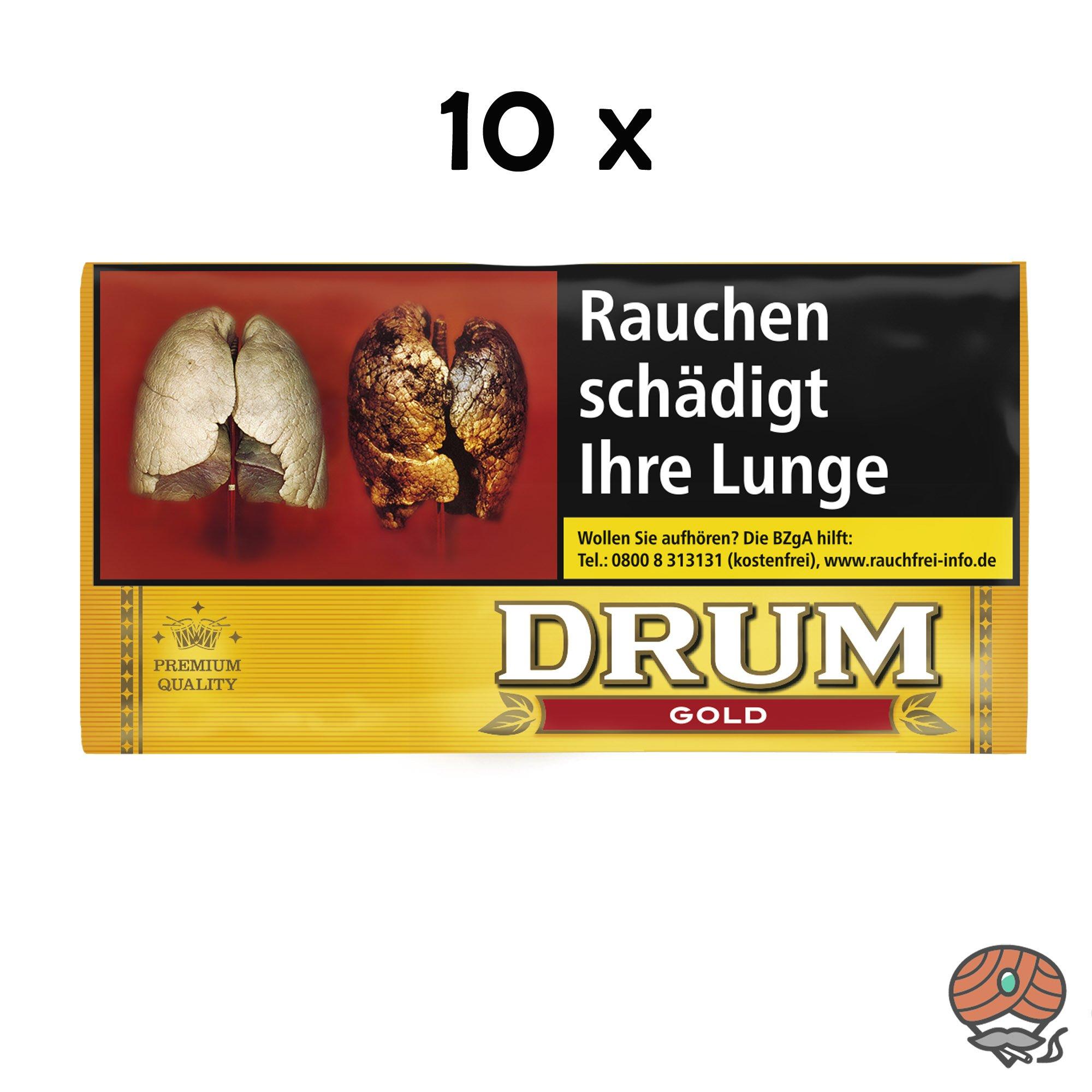 10 x Drum Gold / Yellow Zigarettentabak / Drehtabak 30 g Beutel