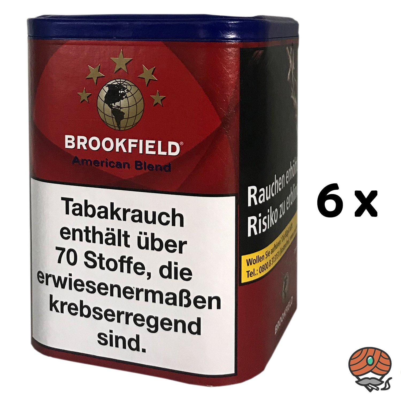6x Brookfield American Blend Zigarettentabak, Feinschnitt-Tabak Dose à 120g