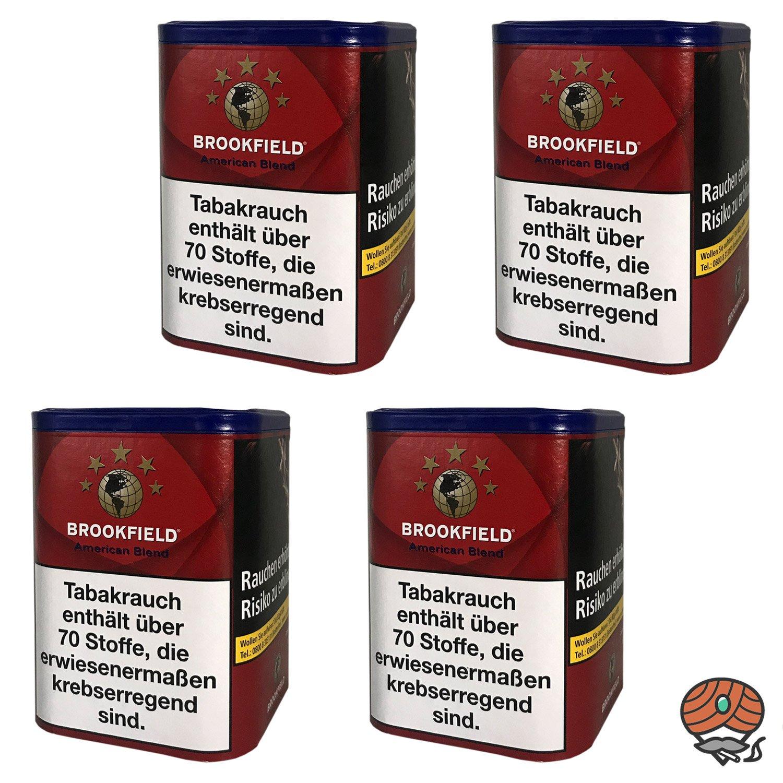 4x Brookfield American Blend Zigarettentabak, Feinschnitt-Tabak Dose à 120g