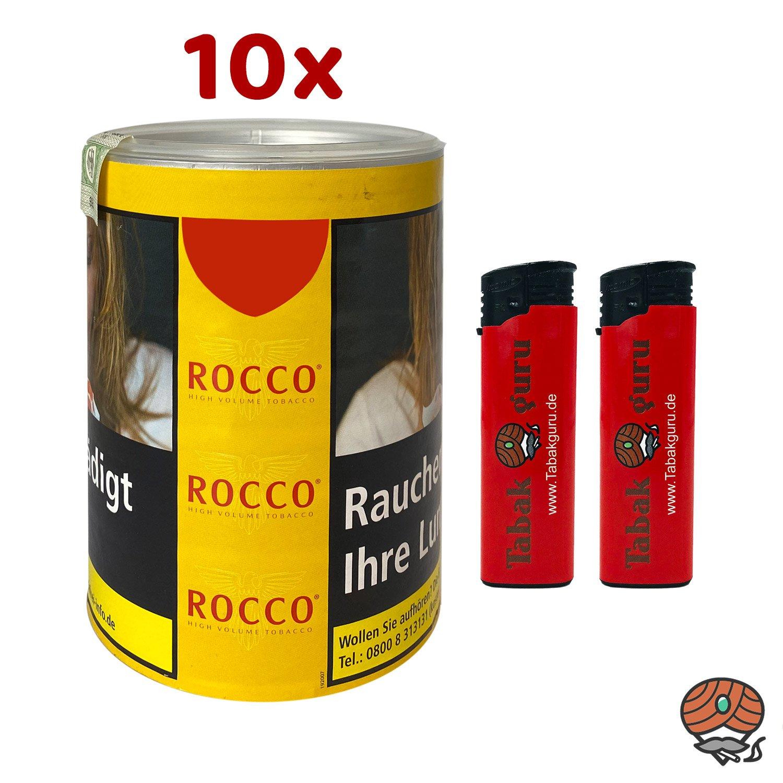 10 x ROCCO Tabak / Volumentabak Gelb Dose 70g + Zubehör