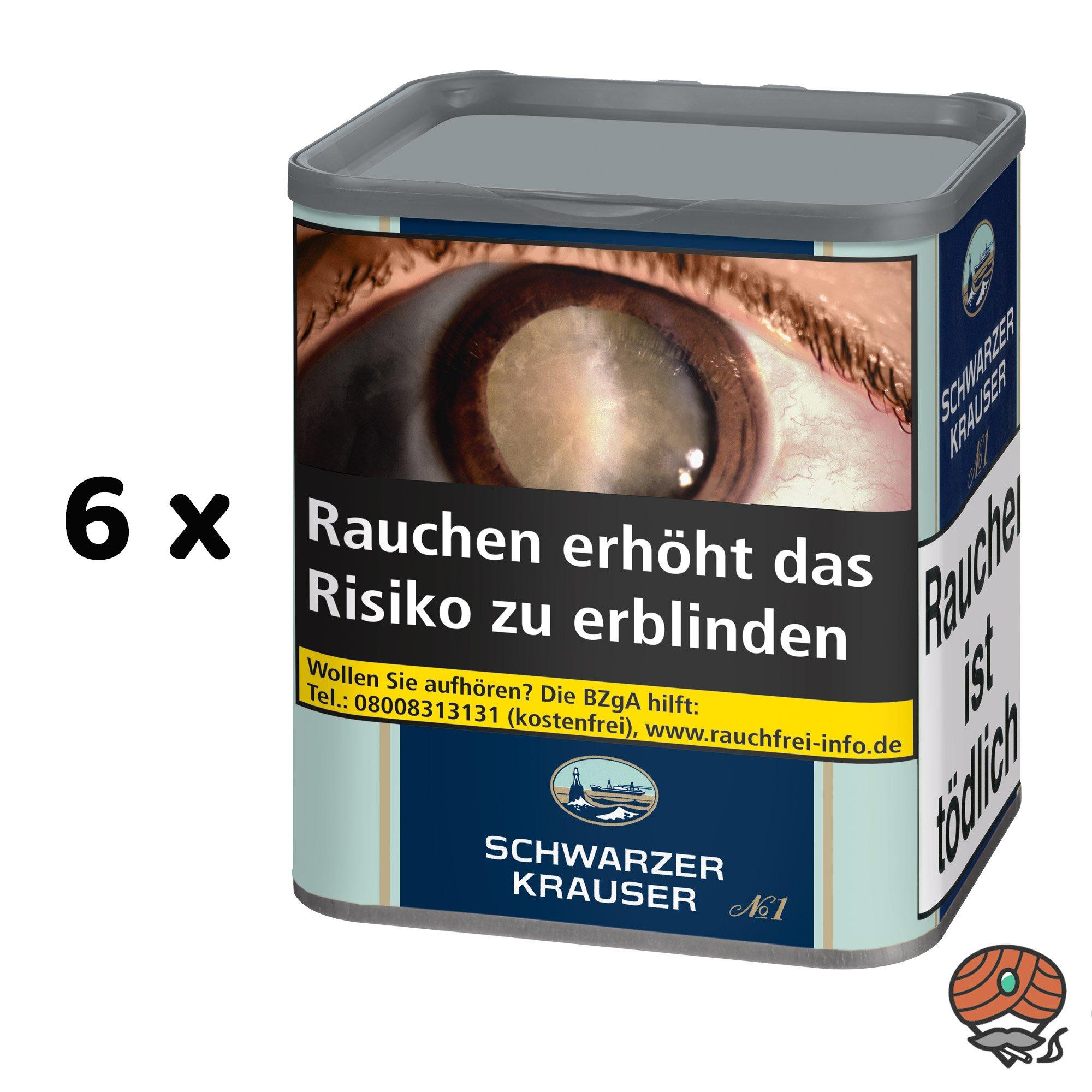 6x Schwarzer Krauser No.1 Feinschnitt Zigarettentabak à 90 g