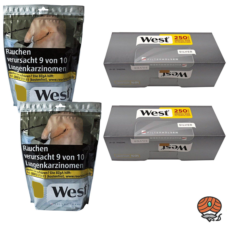 2 x West Silver Beutel Volumentabak à 105 g + 500 West Silver Extra-Hülsen